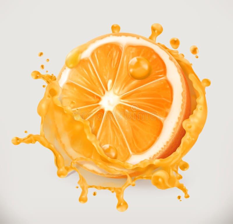查出的汁液橙色白色 新鲜水果,传染媒介象 库存例证