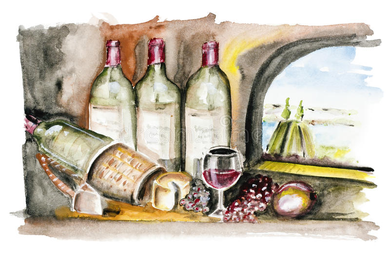 查出的法国葡萄酒 库存例证