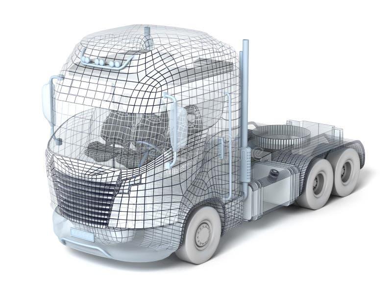 查出的滤网卡车白色 向量例证