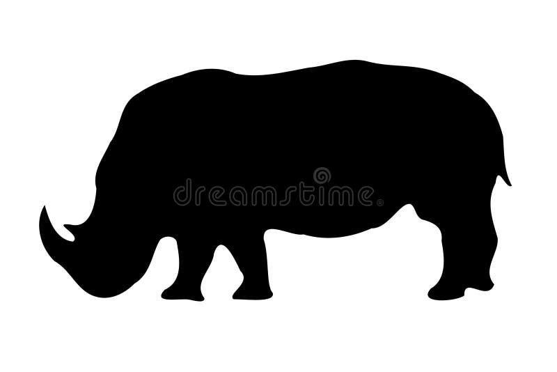 查出的犀牛剪影白色 皇族释放例证
