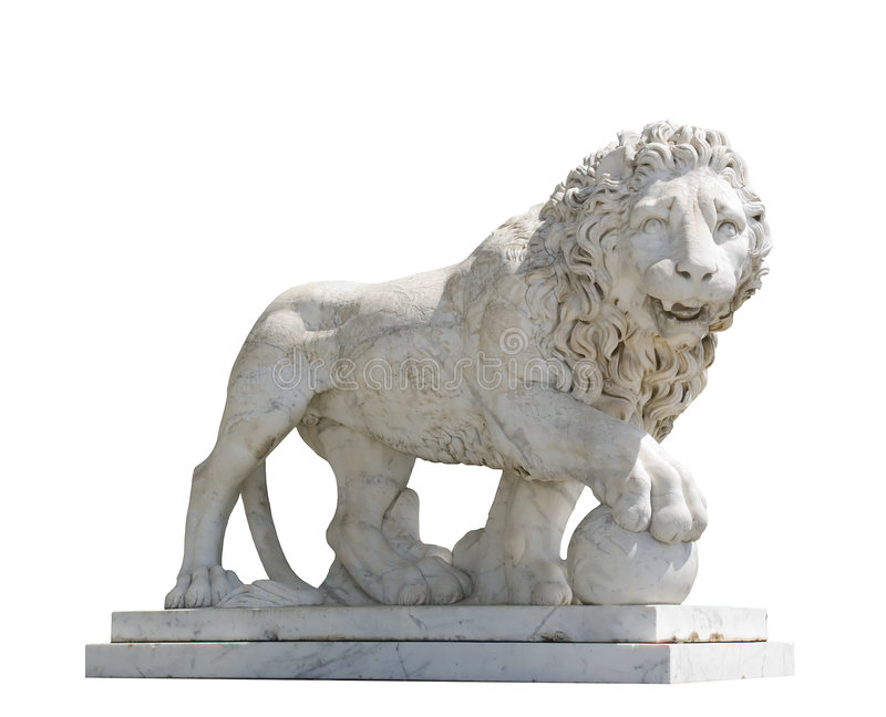 查出的狮子雕塑 免版税图库摄影