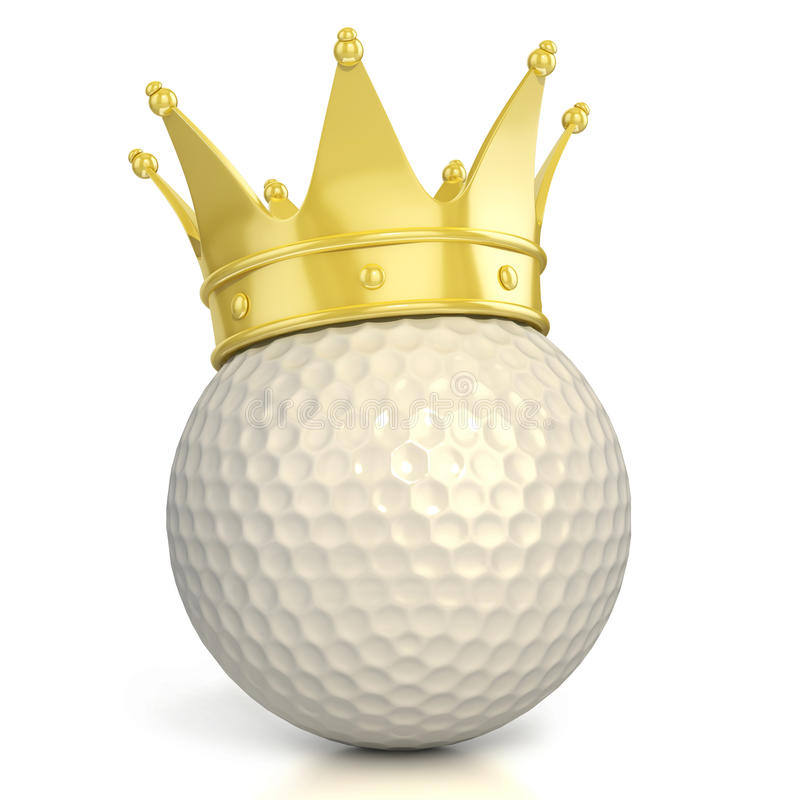 查出的球冠金黄高尔夫球 向量例证