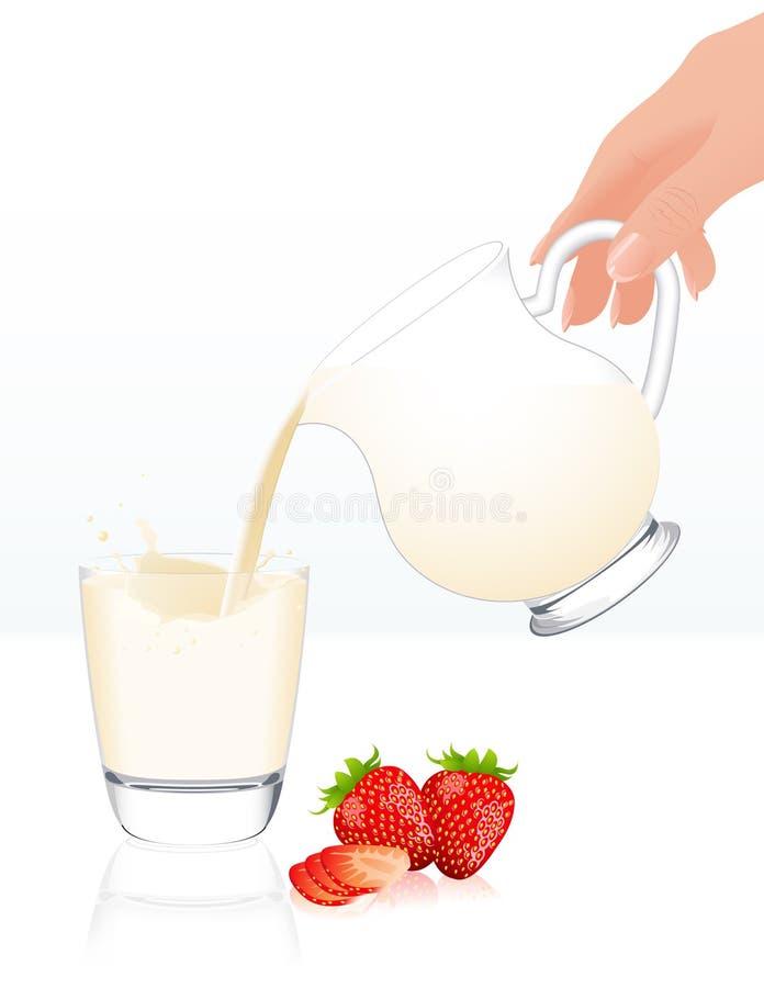 查出的瓶子牛奶 向量例证