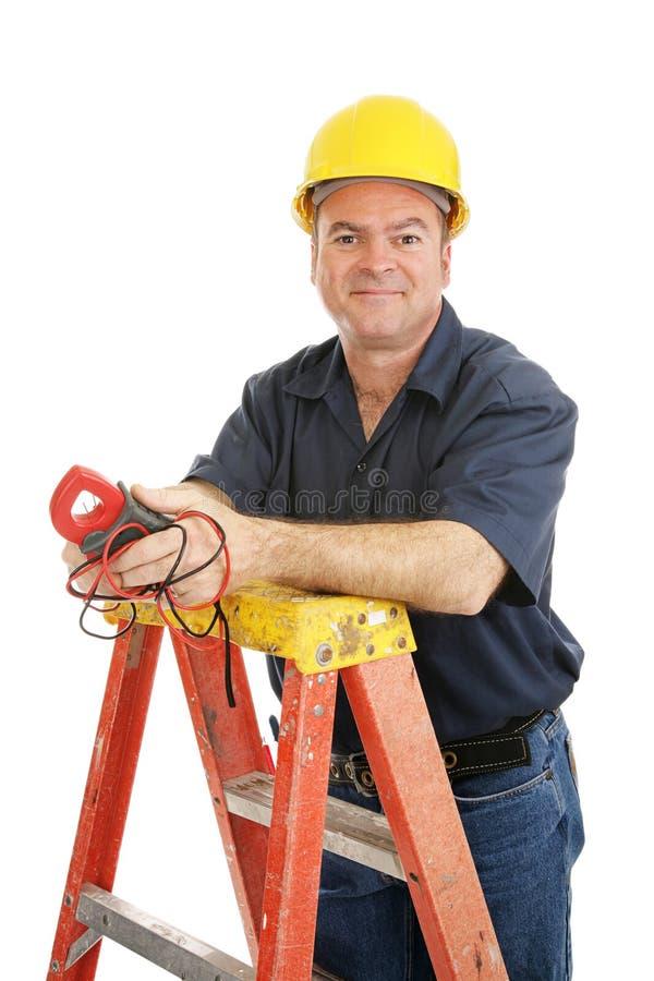 查出的电工友好 免版税库存图片