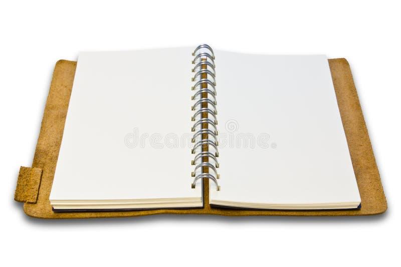 查出的皮革笔记本白色 库存图片
