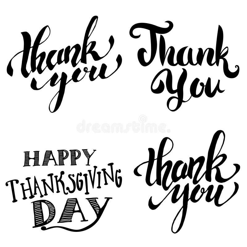 查出的看板卡礼品感谢白色您 日愉快的感恩 被隔绝的手拉的字法 库存例证