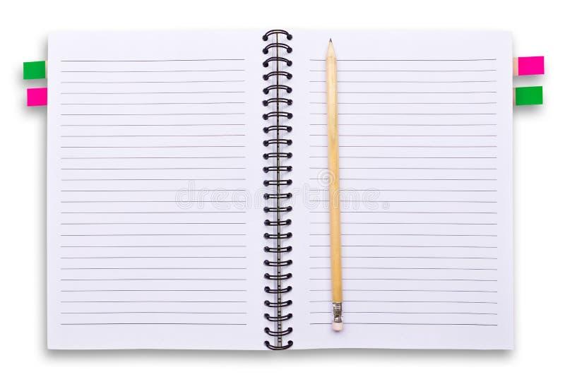 查出的笔记本书写白色 库存照片