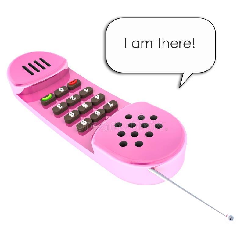查出的粉红色被遮蔽的老girly手机 向量例证