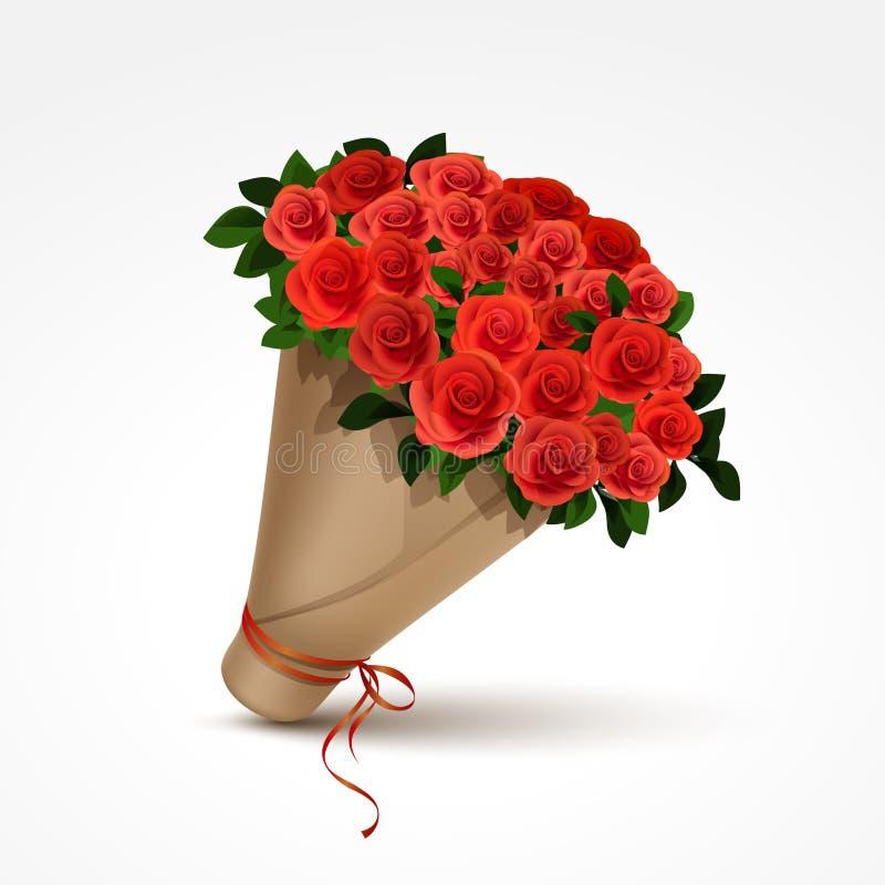 查出的红色玫瑰花束 向量例证