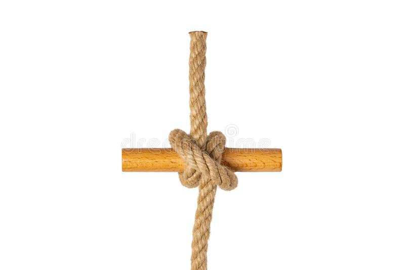 查出的绳索 图卷结结或结特写镜头从被隔绝的一条棕色绳索在白色背景 海军和钓鱼者结 图库摄影