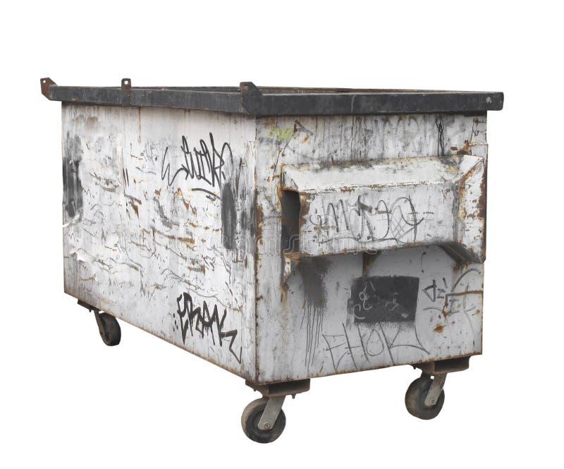查出的老空白生锈的垃圾大型垃圾桶。 图库摄影