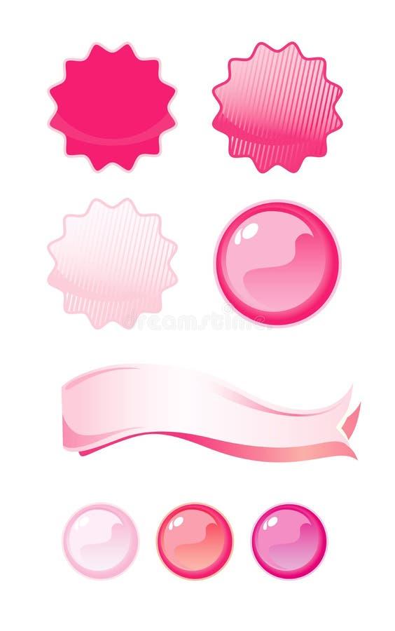 查出的背景标记粉红色集合白色 皇族释放例证