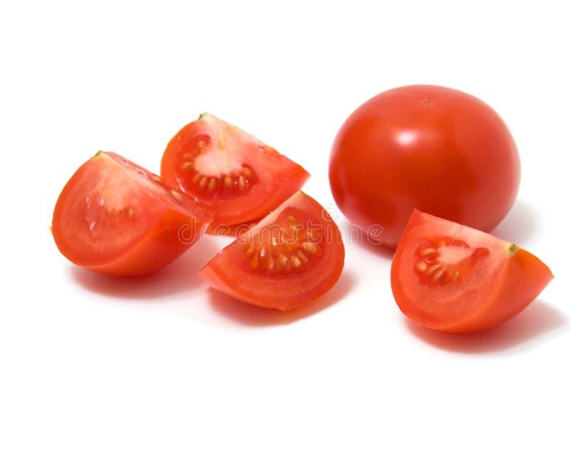 查出的被切的蕃茄白色 图库摄影