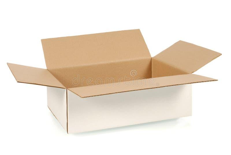 查出的配件箱纸板遮蔽白色 免版税库存照片