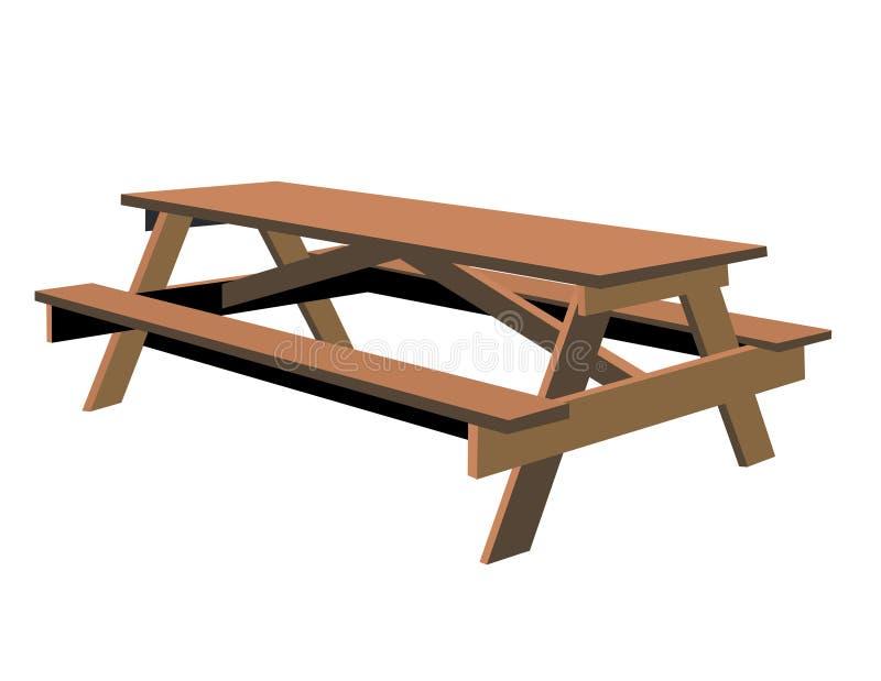 查出的野餐桌 向量例证