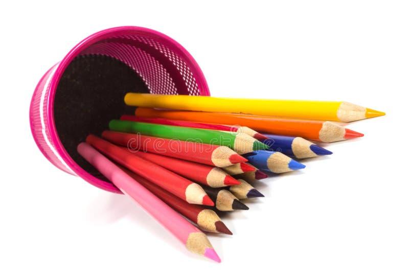 查出的颜色铅笔 免版税图库摄影