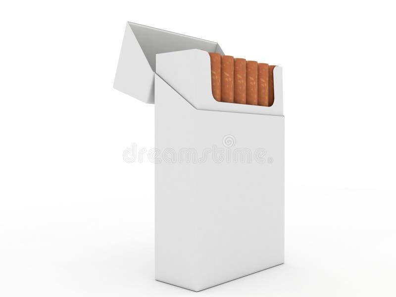 查出的香烟开张装箱白色 库存例证