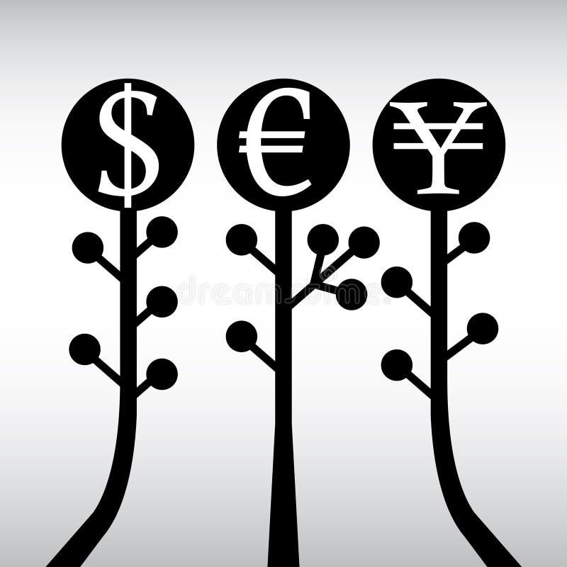 查出的货币结构树白色 向量例证