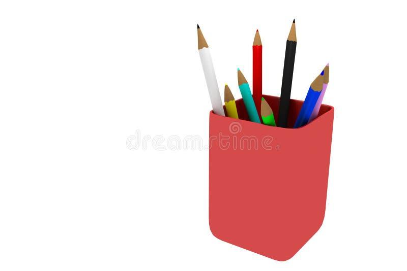 查出的colorpencils 库存例证