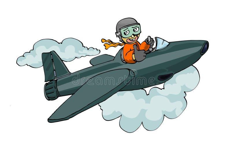 查出的jetplane飞行员白色 向量例证