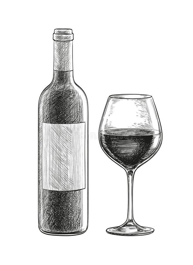 查出的om红色waite酒 瓶和玻璃 皇族释放例证