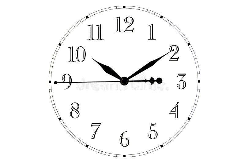 查出 时钟表盘的顶视图 手表拨号盘在白色背景的 在时钟的手 库存例证