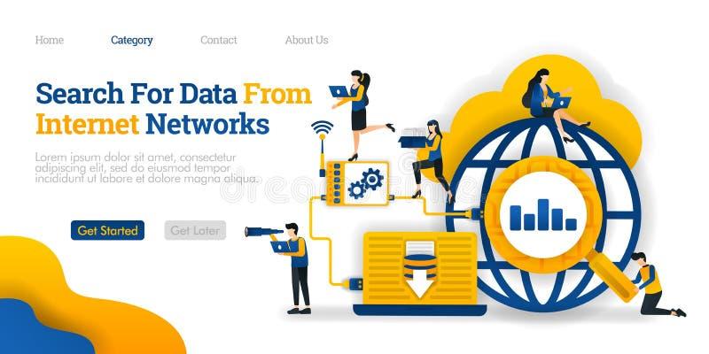 查寻从互联网的数据 分析数据搜查结果保存到数据库 传染媒介平的例证概念,膝上型计算机 库存例证