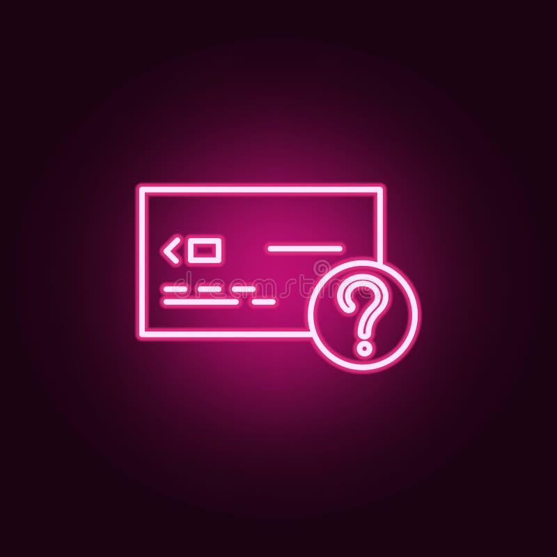 查寻信用卡别针霓虹象 银行业务集合的元素 网站的简单的象,网络设计,流动应用程序,信息图表 向量例证