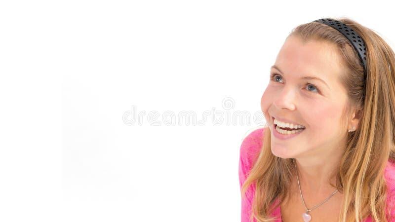 查寻在白色背景的愉快的年轻女人 免版税库存图片