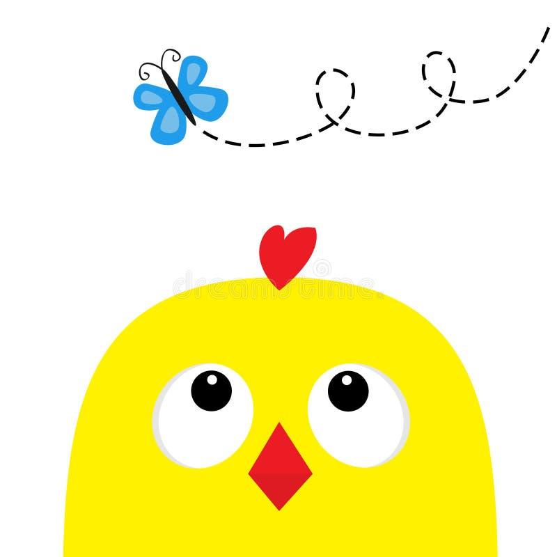 查寻对蝴蝶的鸡顶头面孔大眼睛红色额嘴 愉快的复活节标志标志 逗人喜爱的漫画人物 婴孩汇集 Fl 皇族释放例证