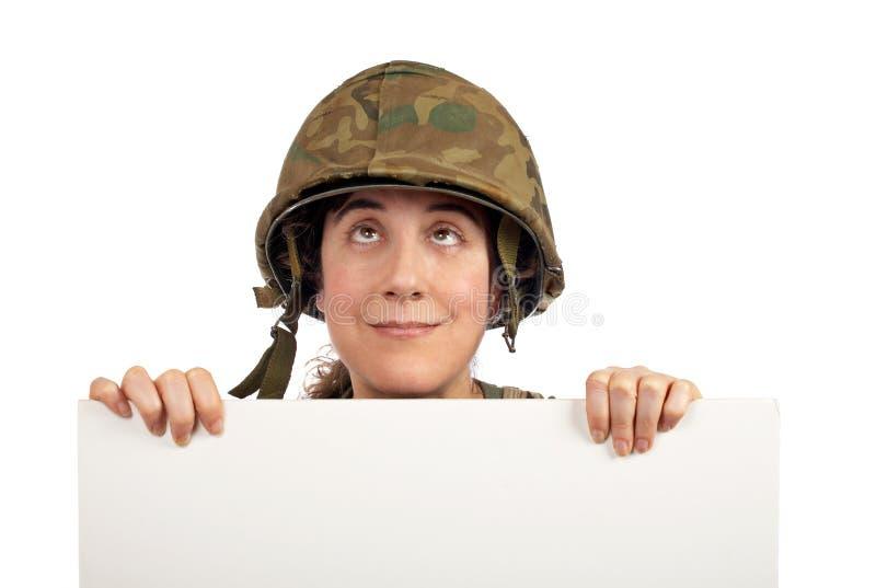 查寻战士的好奇女孩 库存图片