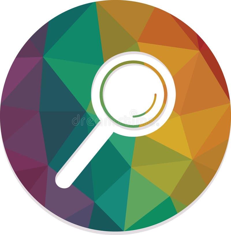 查寻放大镜被隔绝围绕网按钮传染媒介 库存例证