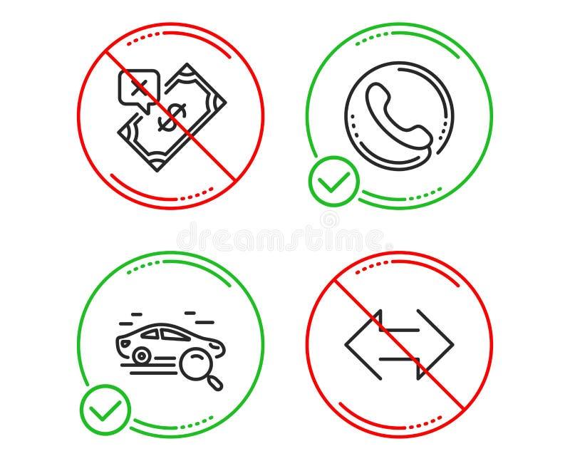 查寻汽车、电话中心和被拒绝的付款象集合 Sync?? ?? 向量例证
