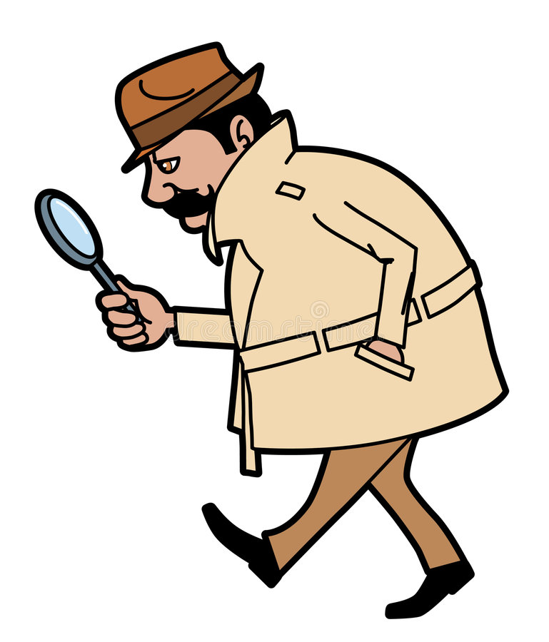 查寻线索的调查员 库存例证