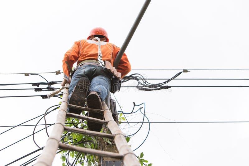 查寻观点的缆绳技术员是修理网络缆绳线  免版税库存图片