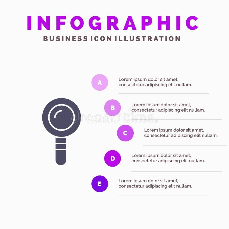 查寻,实验室,发现,生化坚实象Infographics 5步介绍背景 向量例证