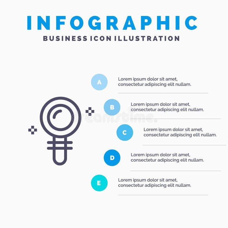 查寻,实验室,发现,生化线象有5步介绍infographics背景 向量例证
