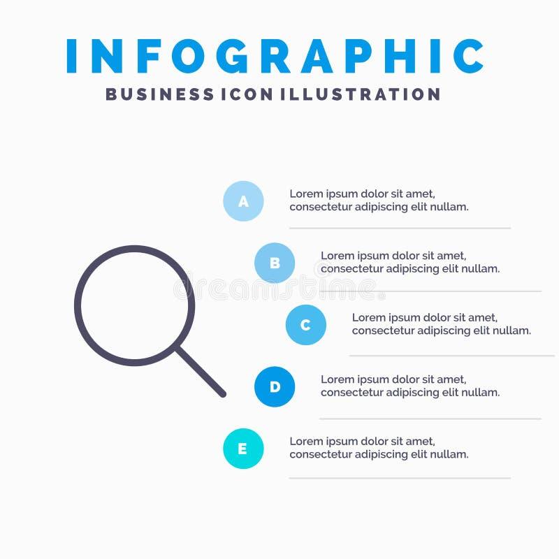 查寻,研究,基本,Ui线象有5步介绍infographics背景 向量例证