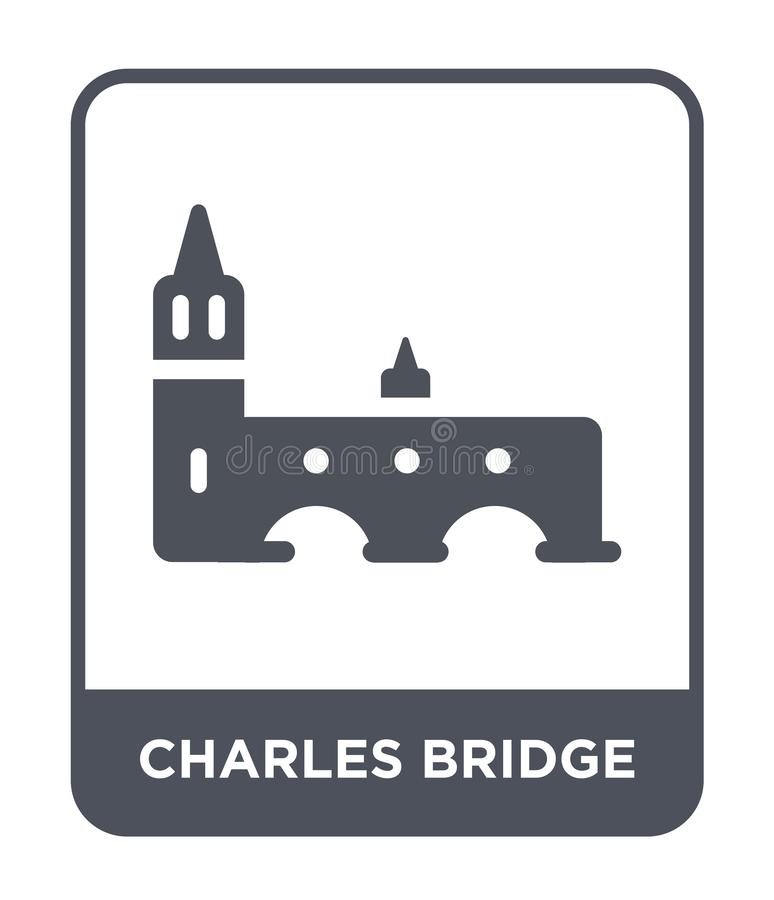 查尔斯在时髦设计样式的桥梁象 查尔斯在白色背景隔绝的桥梁象 查尔斯桥梁简单传染媒介的象 库存例证