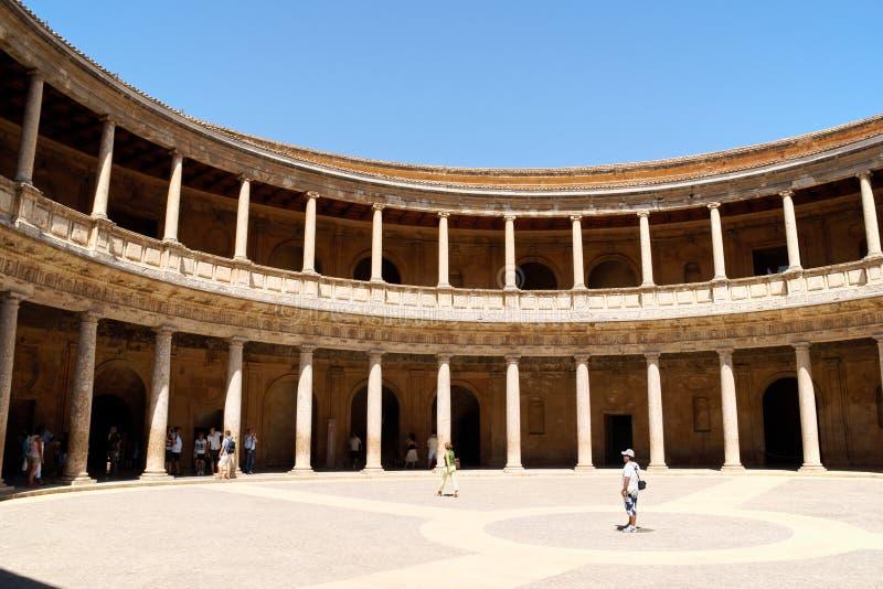 查尔斯宫殿v在阿尔罕布拉宫,格拉纳达 免版税库存照片