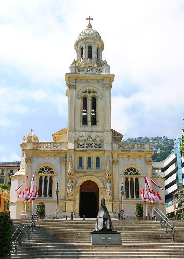 查尔斯教会摩纳哥st 免版税图库摄影