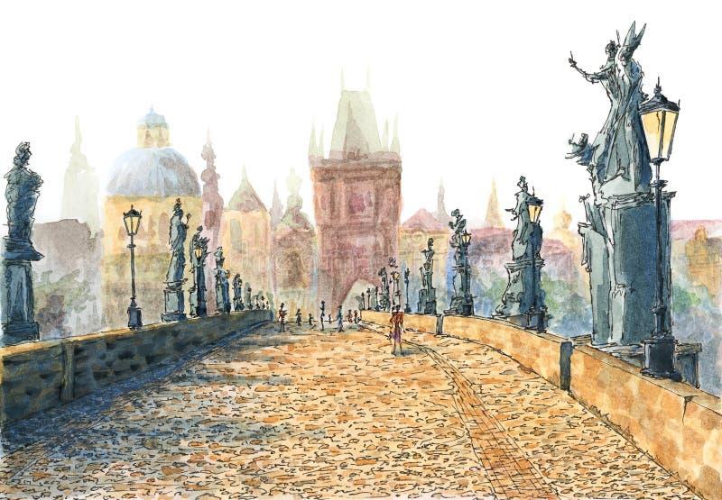 查尔斯桥梁布拉格,捷克共和国 皇族释放例证