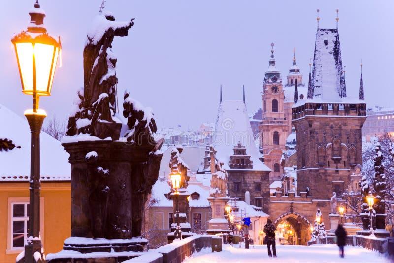 查尔斯桥梁,一点镇,布拉格(联合国科教文组织),捷克共和国 库存图片
