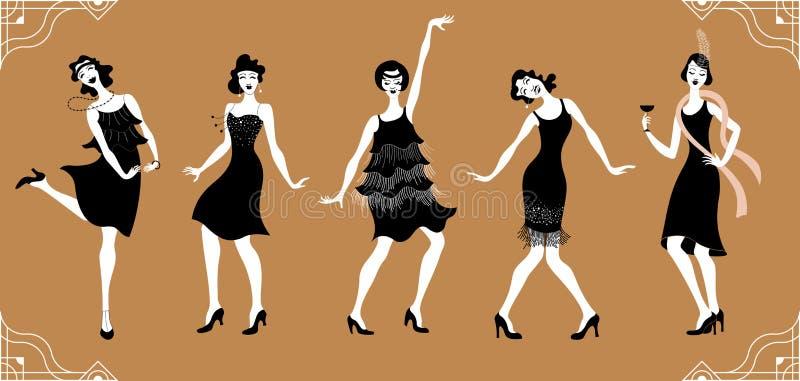 查尔斯顿党 平的gatsby样式集合 减速火箭的妇女跳舞查尔斯顿的小组 例证百合红色样式葡萄酒 减速火箭的剪影舞蹈家 1920年 库存例证