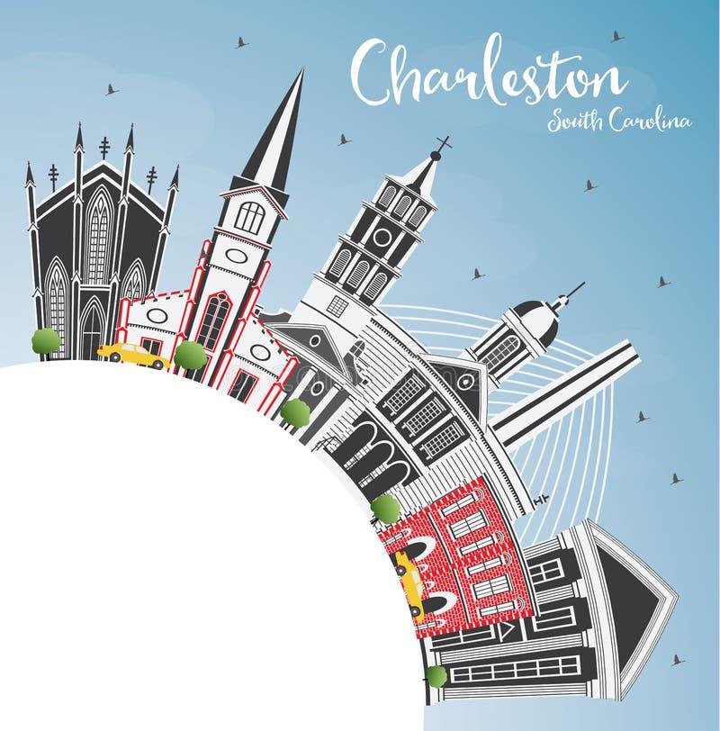 查尔斯顿南卡罗来纳与灰色大厦的市地平线,蓝色 向量例证