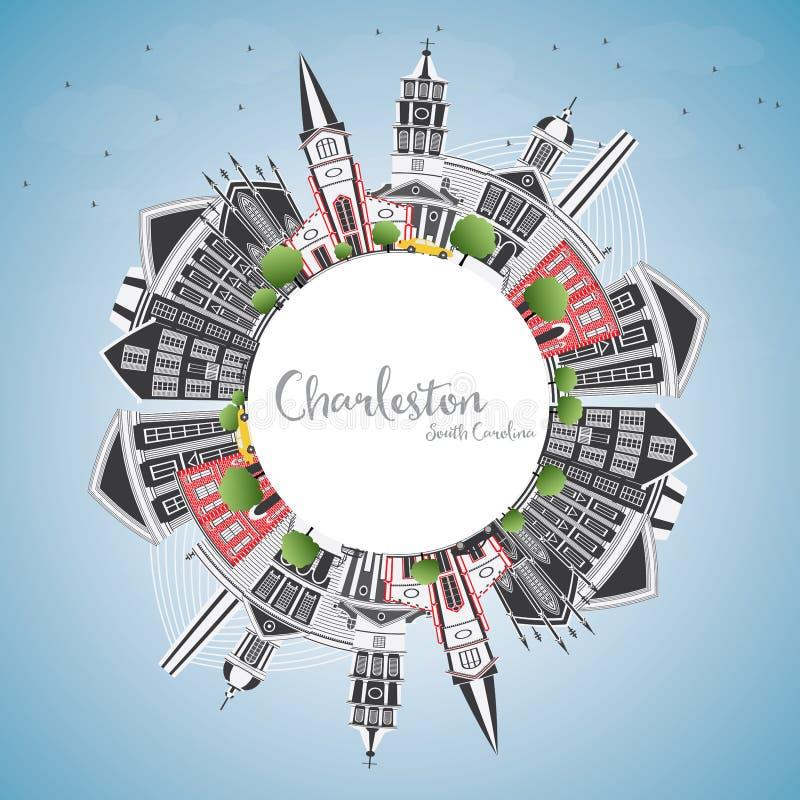 查尔斯顿南卡罗来纳与灰色大厦的市地平线,蓝色 库存例证
