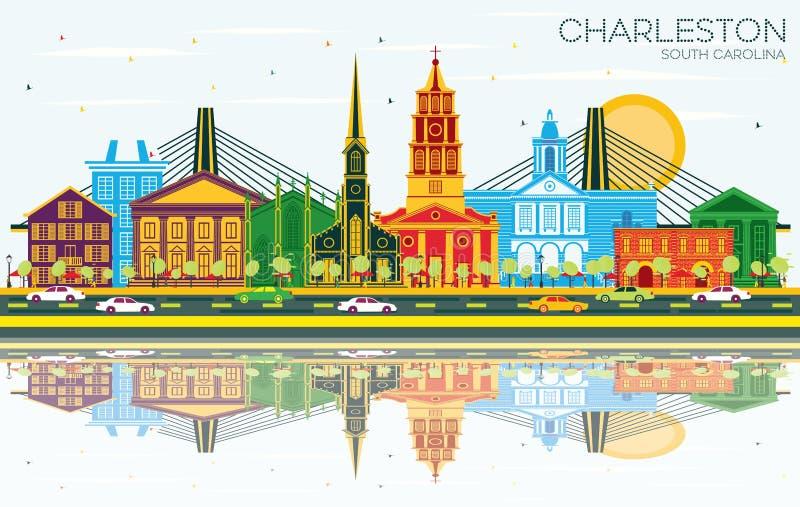 查尔斯顿南卡罗来纳与颜色大厦、天空蔚蓝和反射的市地平线 皇族释放例证