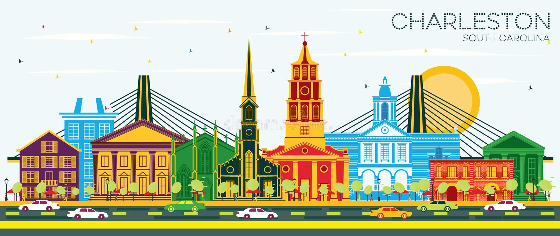 查尔斯顿南卡罗来纳与颜色大厦和天空蔚蓝的市地平线 库存例证