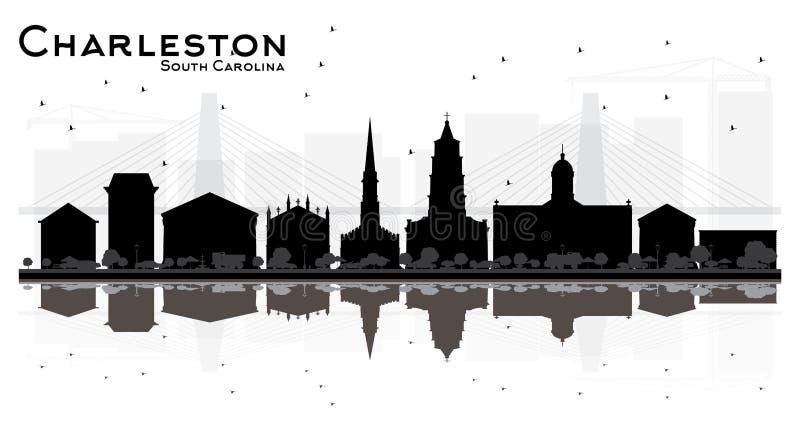 查尔斯顿南卡罗来纳市与在白色隔绝的黑大厦的地平线剪影 皇族释放例证