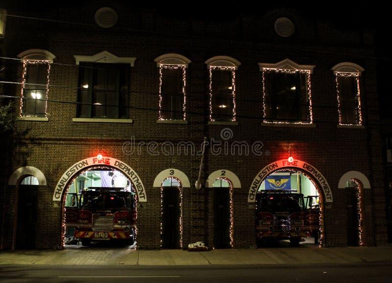查尔斯顿在圣诞节的消防队 库存照片